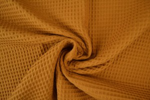 Waffle fabric 44 dark ochre yellow